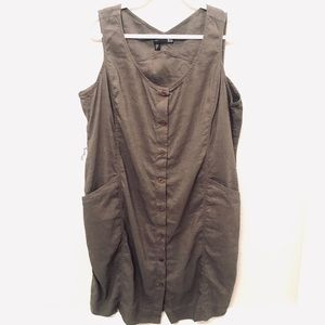 Eileen Fisher linen button down utility dress